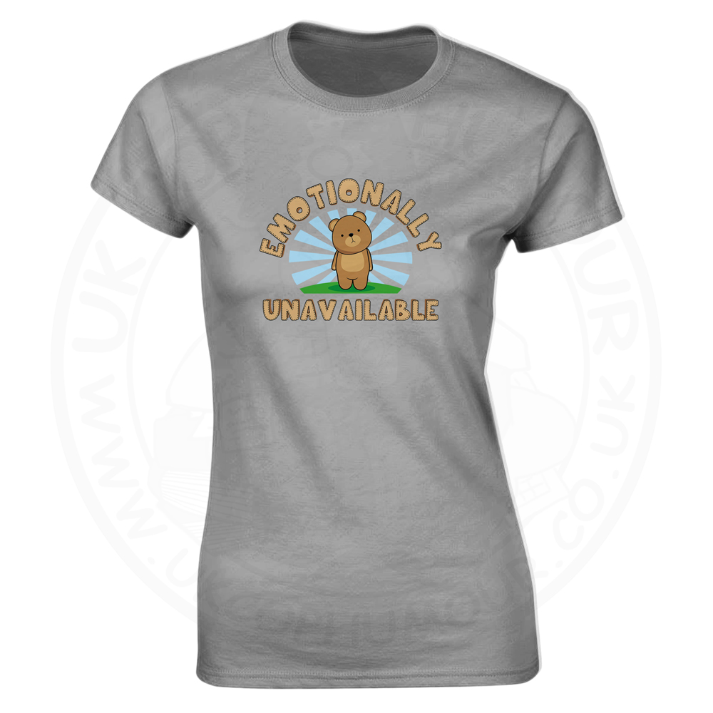 Ladies Emotionally Unavailable T-Shirt - Heather Grey, 18