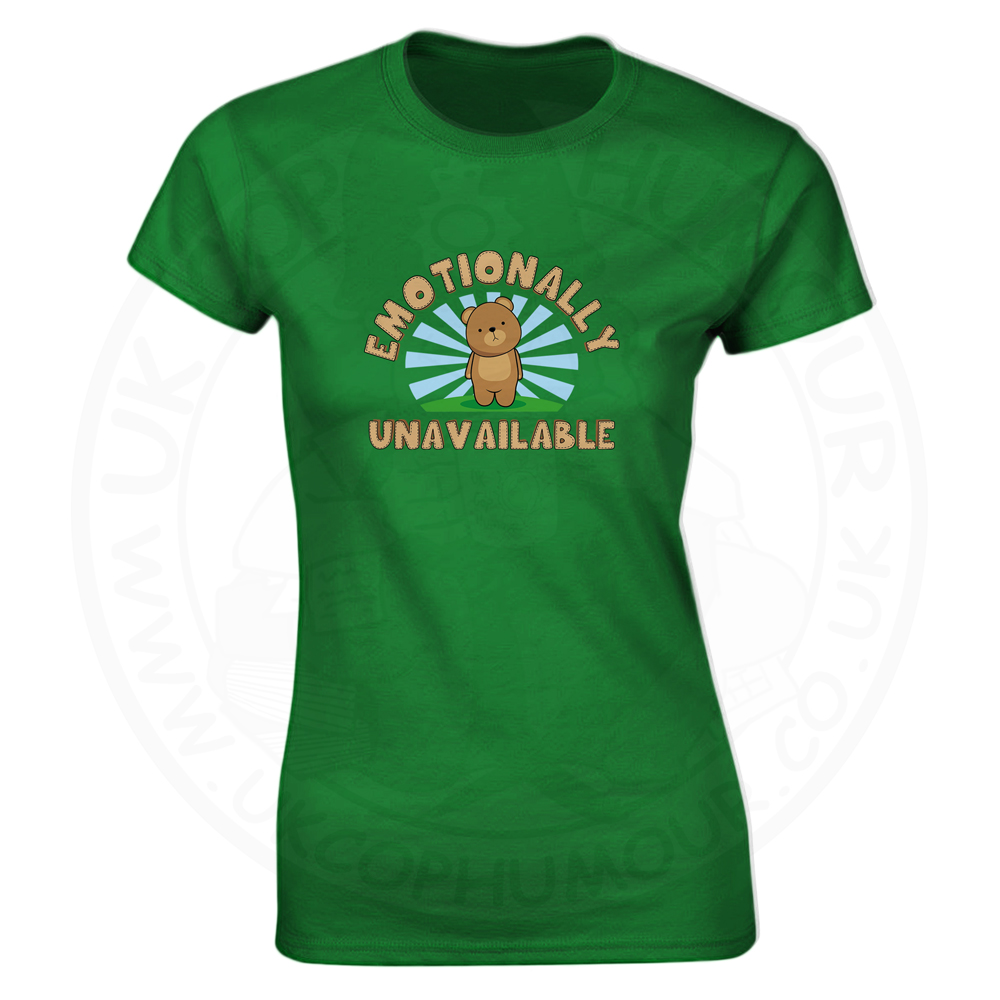 Ladies Emotionally Unavailable T-Shirt - Kelly Green, 18