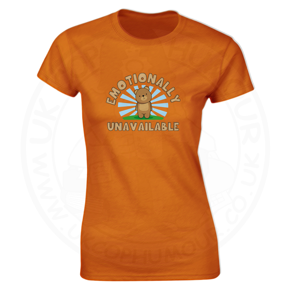 Ladies Emotionally Unavailable T-Shirt - Orange, 18
