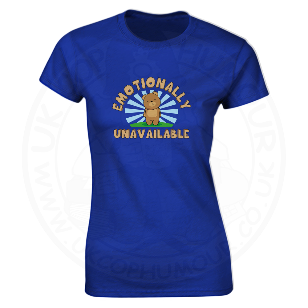Ladies Emotionally Unavailable T-Shirt - Royal Blue, 18