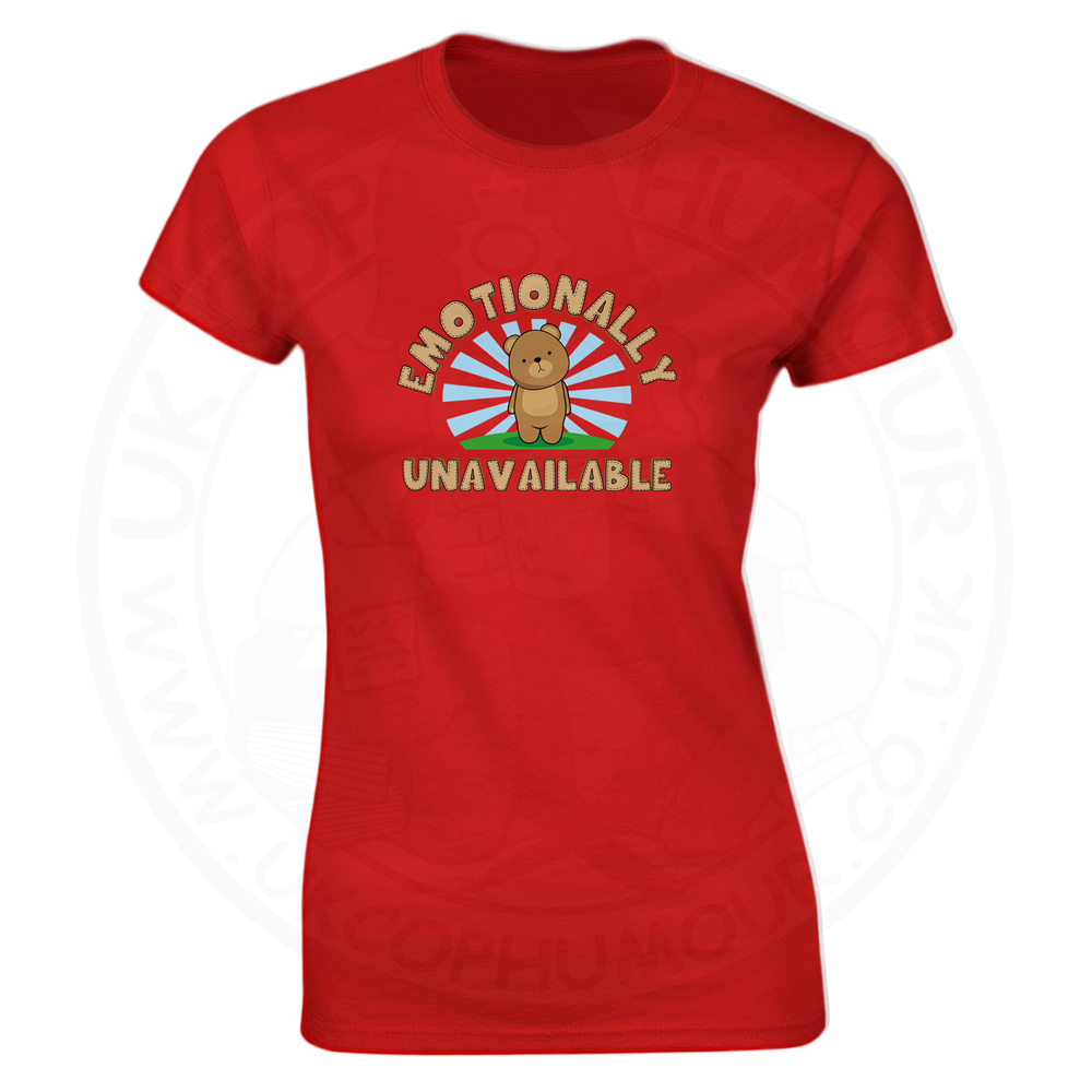 Ladies Emotionally Unavailable T-Shirt - Red, 8