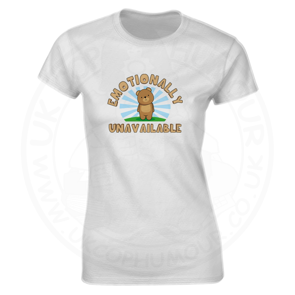 Ladies Emotionally Unavailable T-Shirt - White, 18