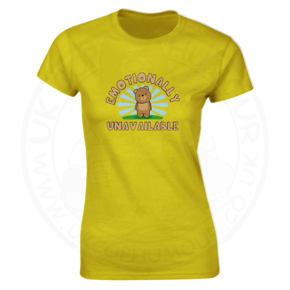 Ladies Emotionally Unavailable T-Shirt - Yellow, 18