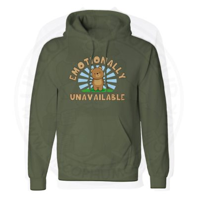 Unisex Emotionally Unavailable Hoodie - Olive Green, 2XL