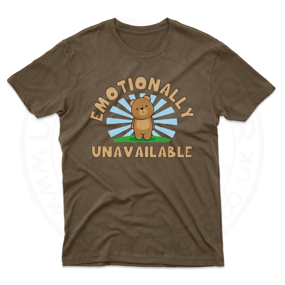 Mens Emotionally Unavailable T-Shirt - Dark Chocolate, 2XL