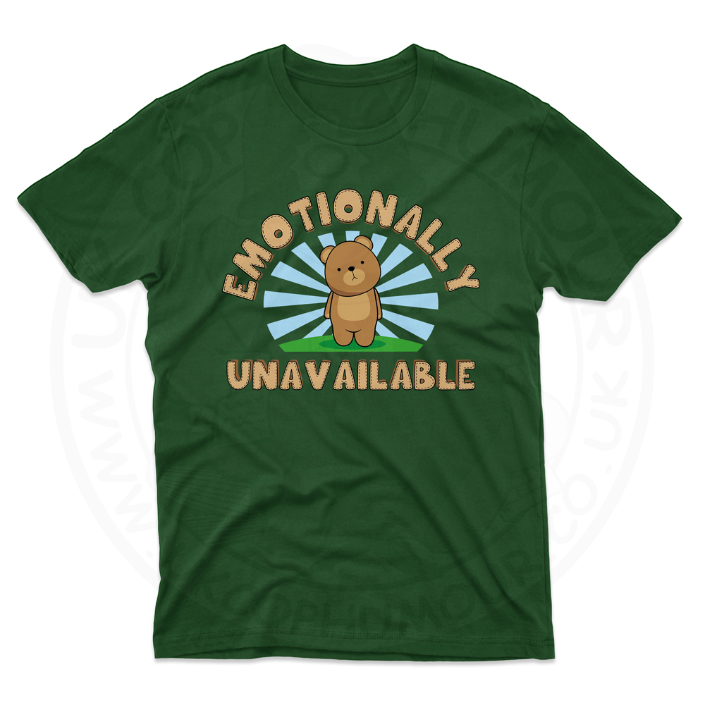 Mens Emotionally Unavailable T-Shirt - Forest Green, 2XL