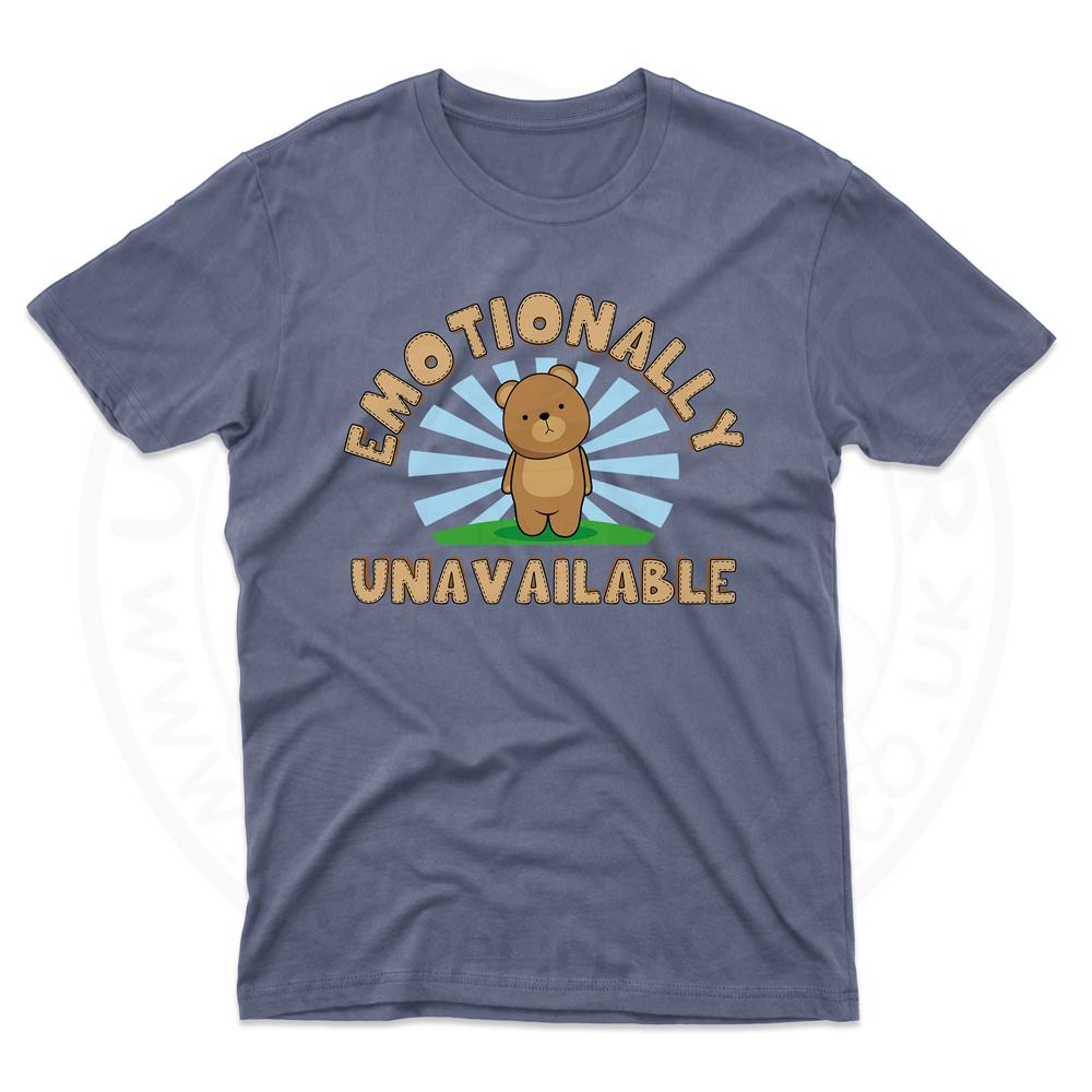 Mens Emotionally Unavailable T-Shirt - Indigo Blue, 2XL