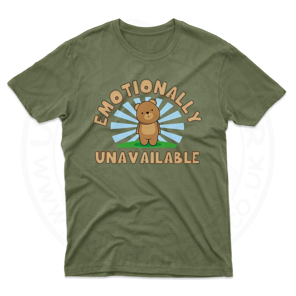 Mens Emotionally Unavailable T-Shirt - Military Green, 2XL
