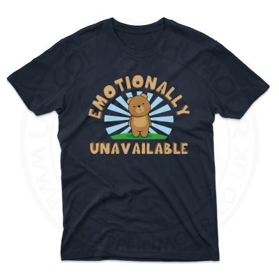 Mens Emotionally Unavailable T-Shirt - Navy, 5XL