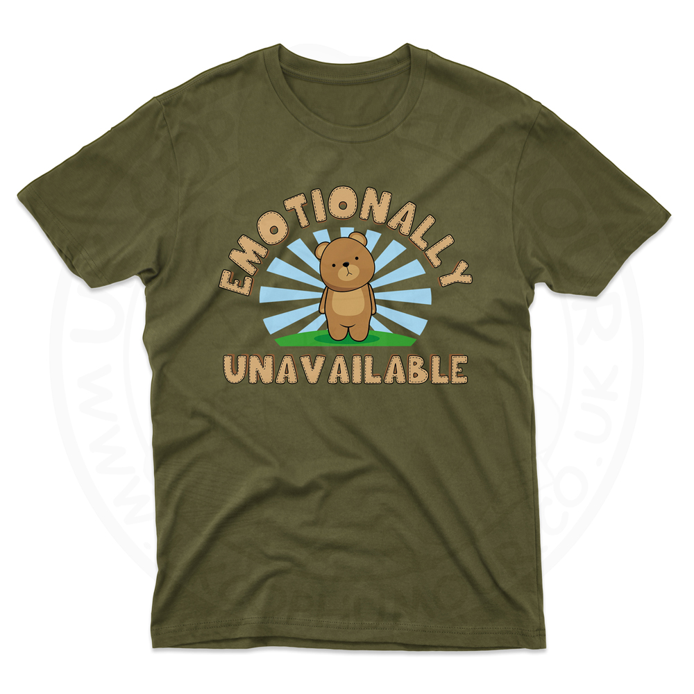 Mens Emotionally Unavailable T-Shirt - Olive Green, 2XL