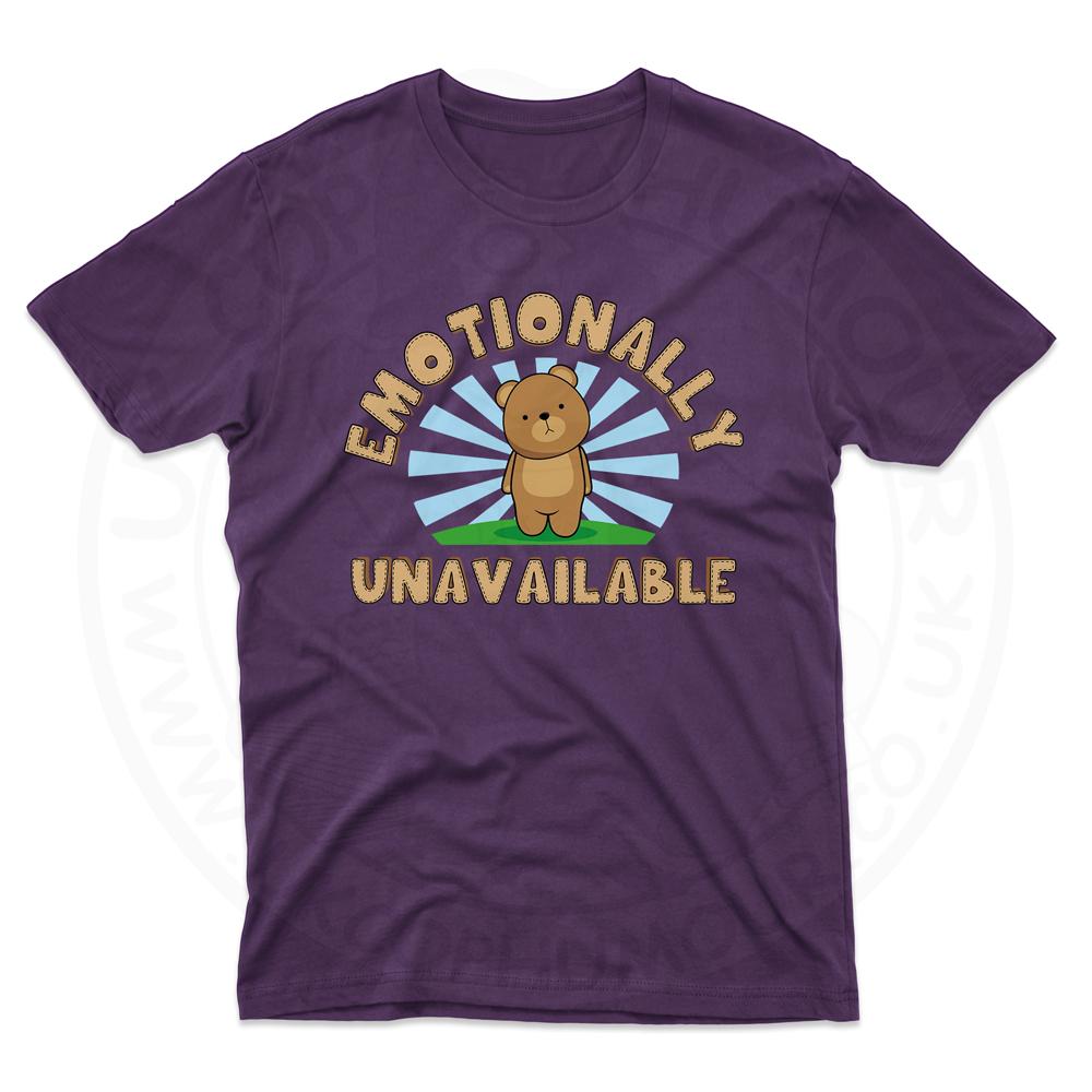 Mens Emotionally Unavailable T-Shirt - Purple, 2XL