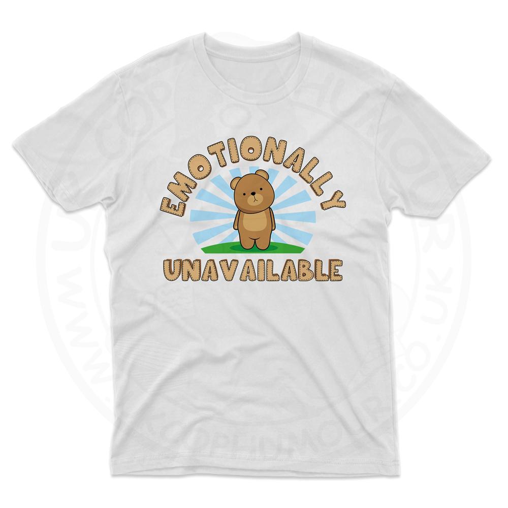Mens Emotionally Unavailable T-Shirt - White, 5XL