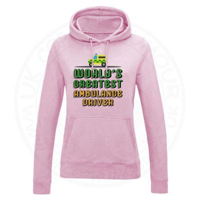 Ladies World Greatest Ambulance Driver Hoodie - Baby Pink, 18