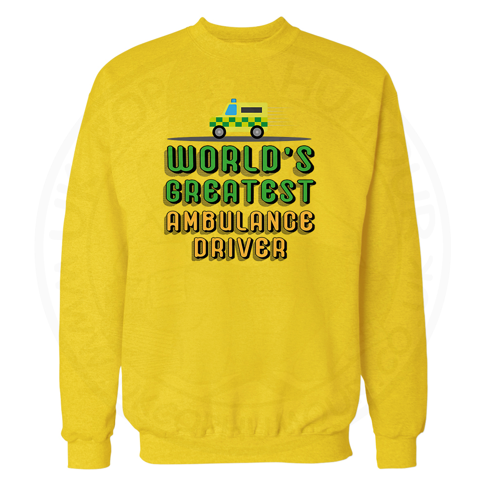World Greatest Ambulance Driver Sweatshirt - Yellow, 2XL