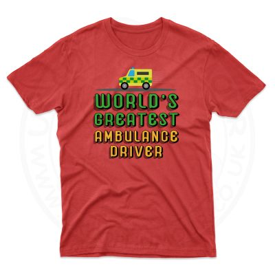 Mens World Greatest Ambulance Driver T-Shirt - Cherry Red, 2XL