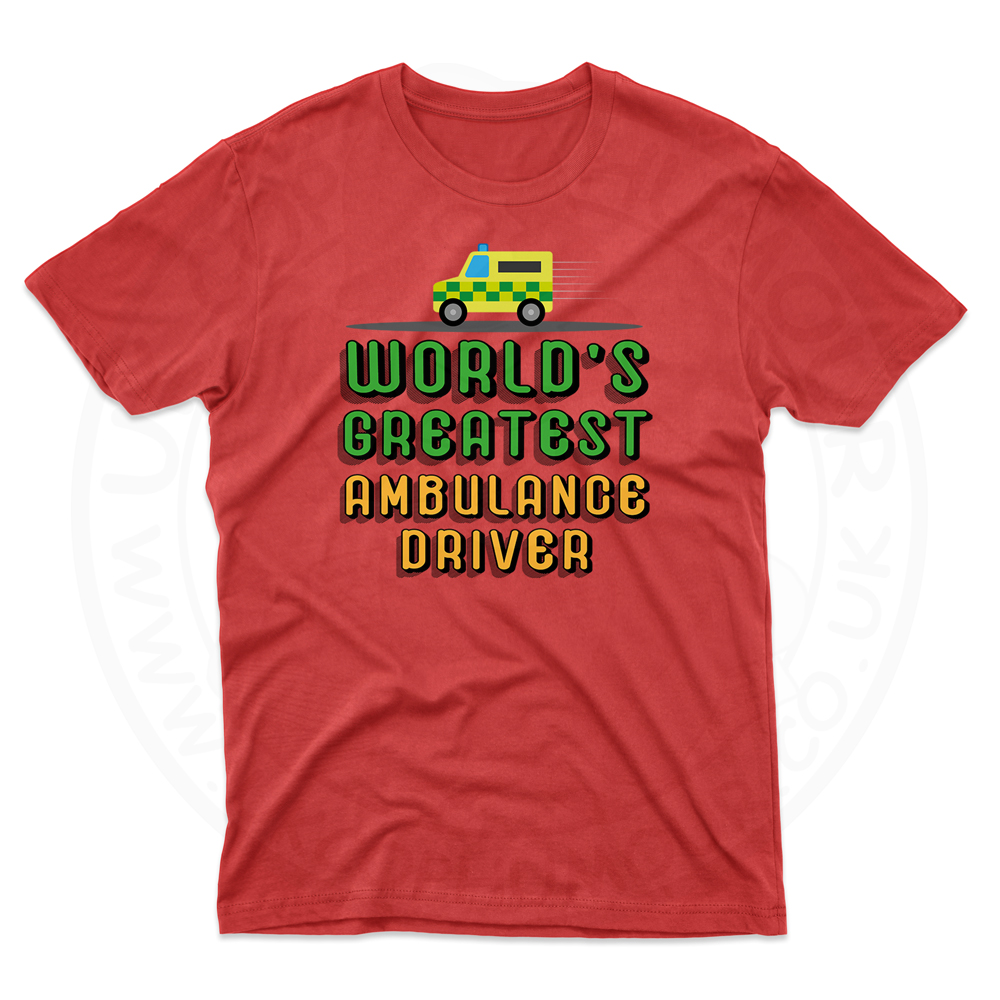 Mens World Greatest Ambulance Driver T-Shirt - Cherry Red, 2XL