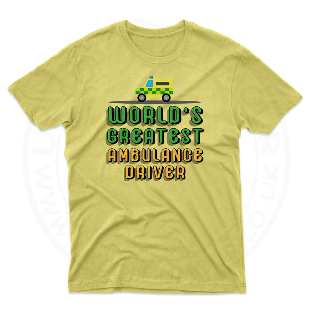 Mens World Greatest Ambulance Driver T-Shirt - Daisy, 2XL
