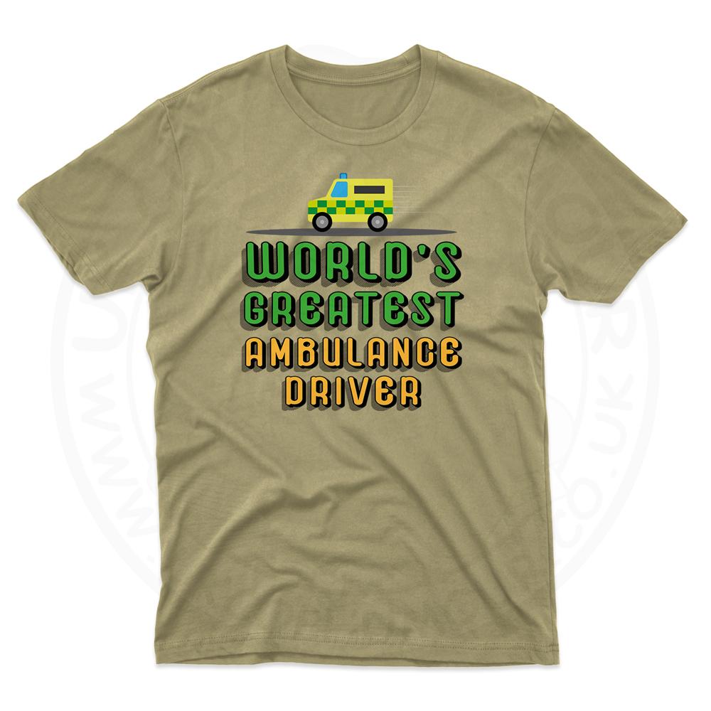 Mens World Greatest Ambulance Driver T-Shirt - Desert, 2XL