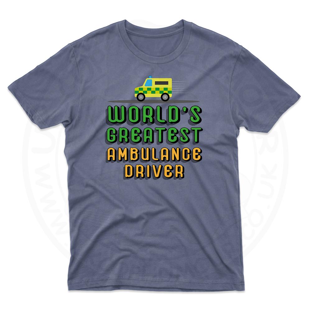 Mens World Greatest Ambulance Driver T-Shirt - Indigo Blue, 2XL