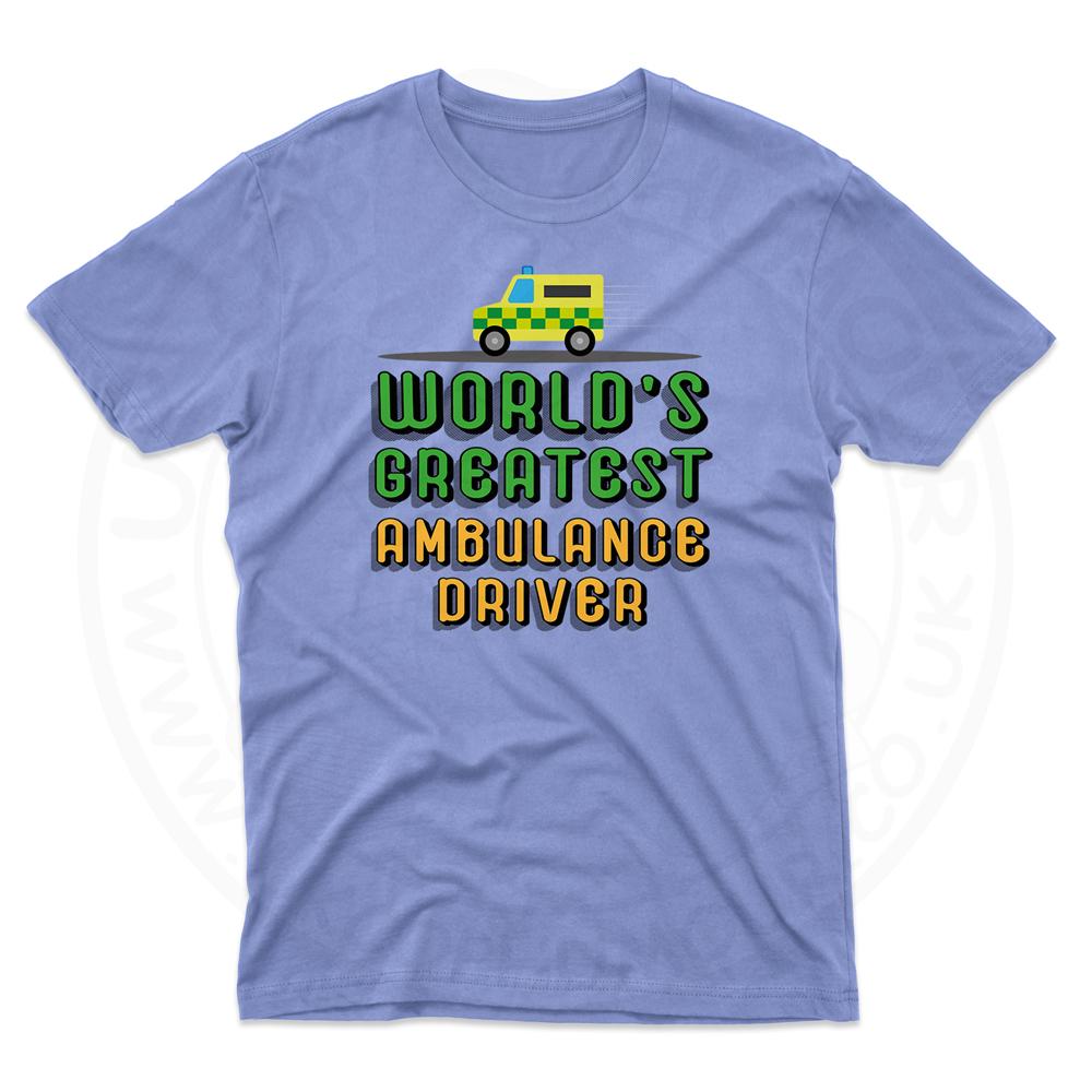 Mens World Greatest Ambulance Driver T-Shirt - Light Blue, 2XL