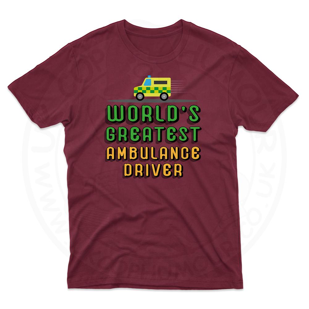 Mens World Greatest Ambulance Driver T-Shirt - Maroon, 2XL
