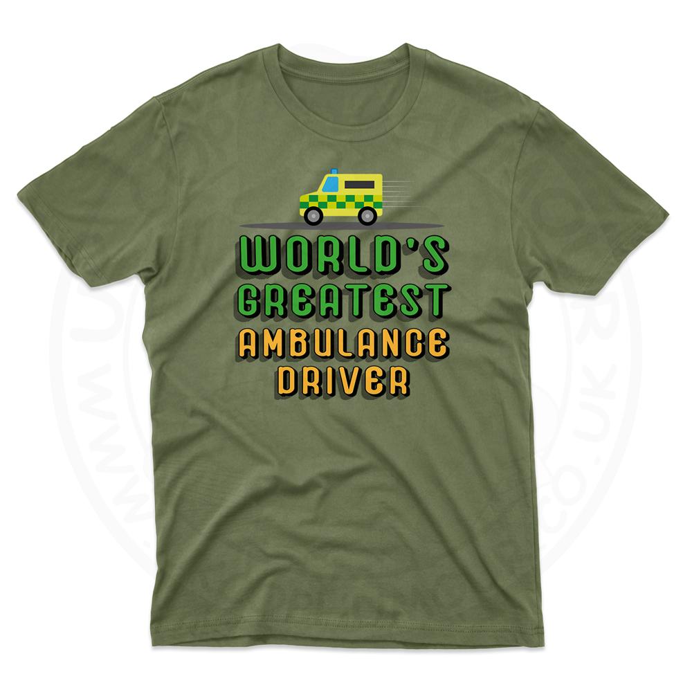 Mens World Greatest Ambulance Driver T-Shirt - Military Green, 2XL