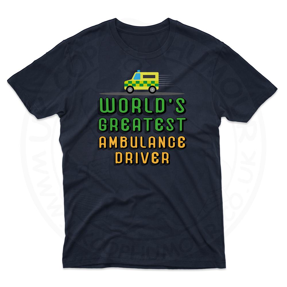 Mens World Greatest Ambulance Driver T-Shirt - Navy, 5XL