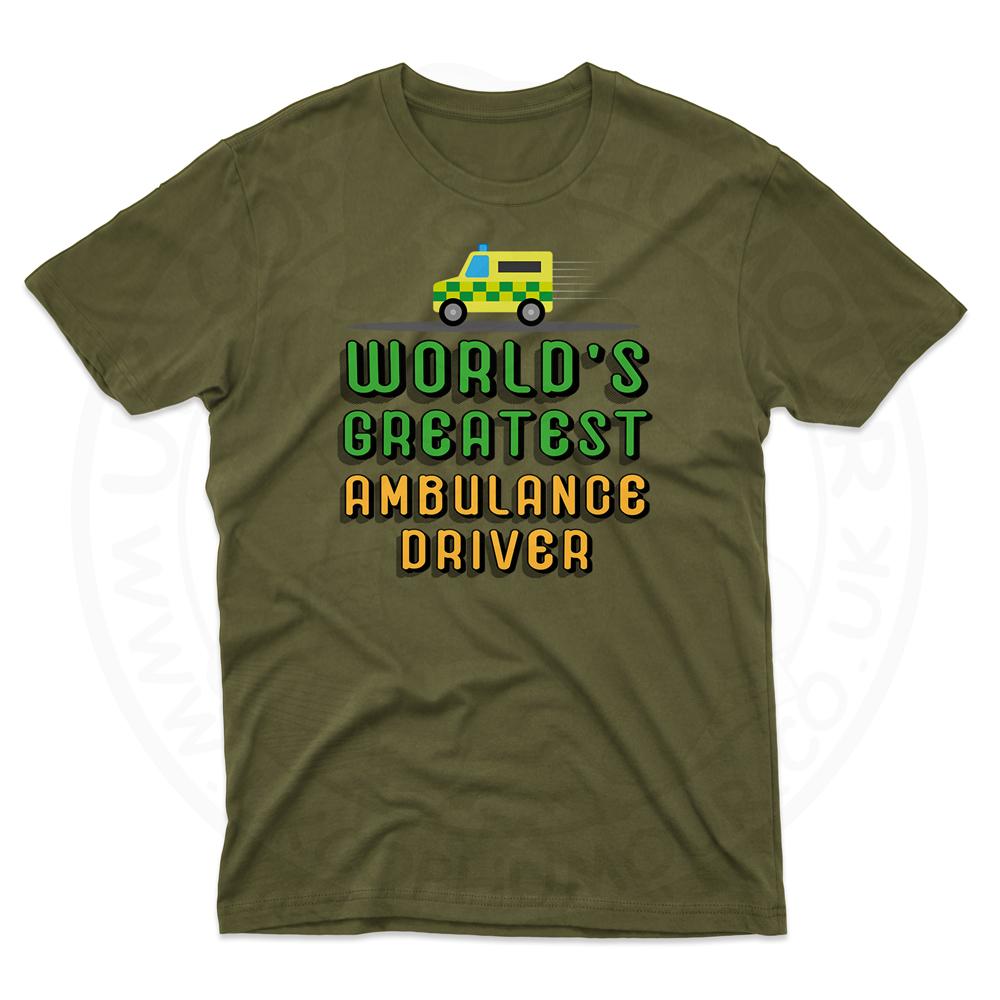 Mens World Greatest Ambulance Driver T-Shirt - Olive Green, 2XL