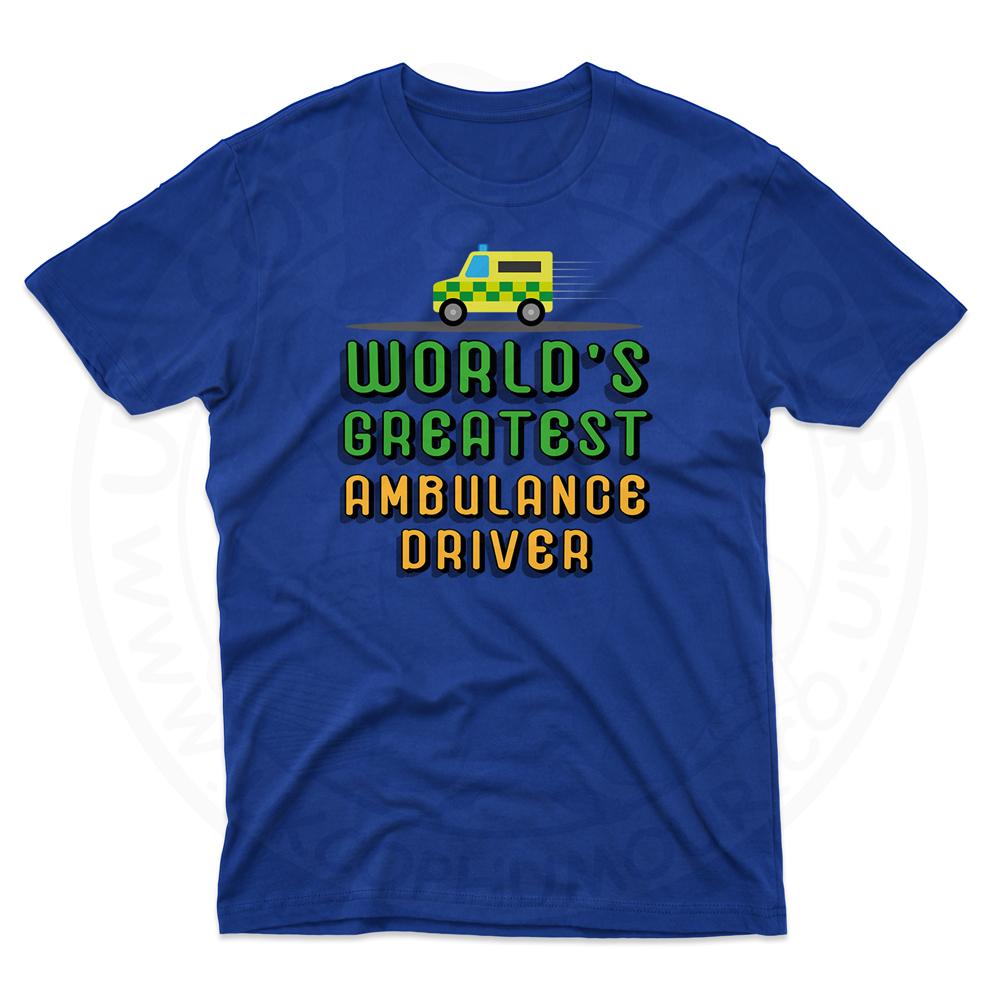 Mens World Greatest Ambulance Driver T-Shirt - Royal Blue, 5XL