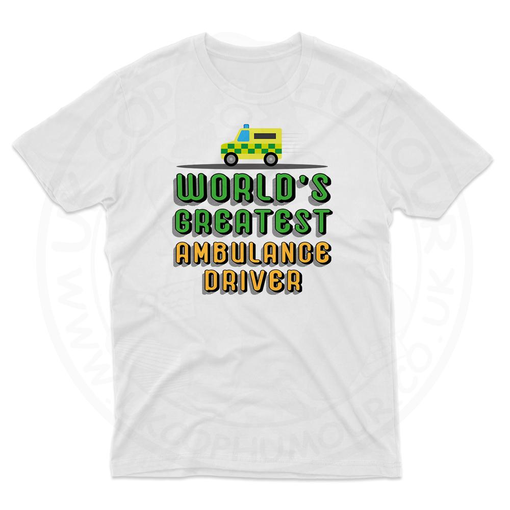 Mens World Greatest Ambulance Driver T-Shirt - White, 5XL