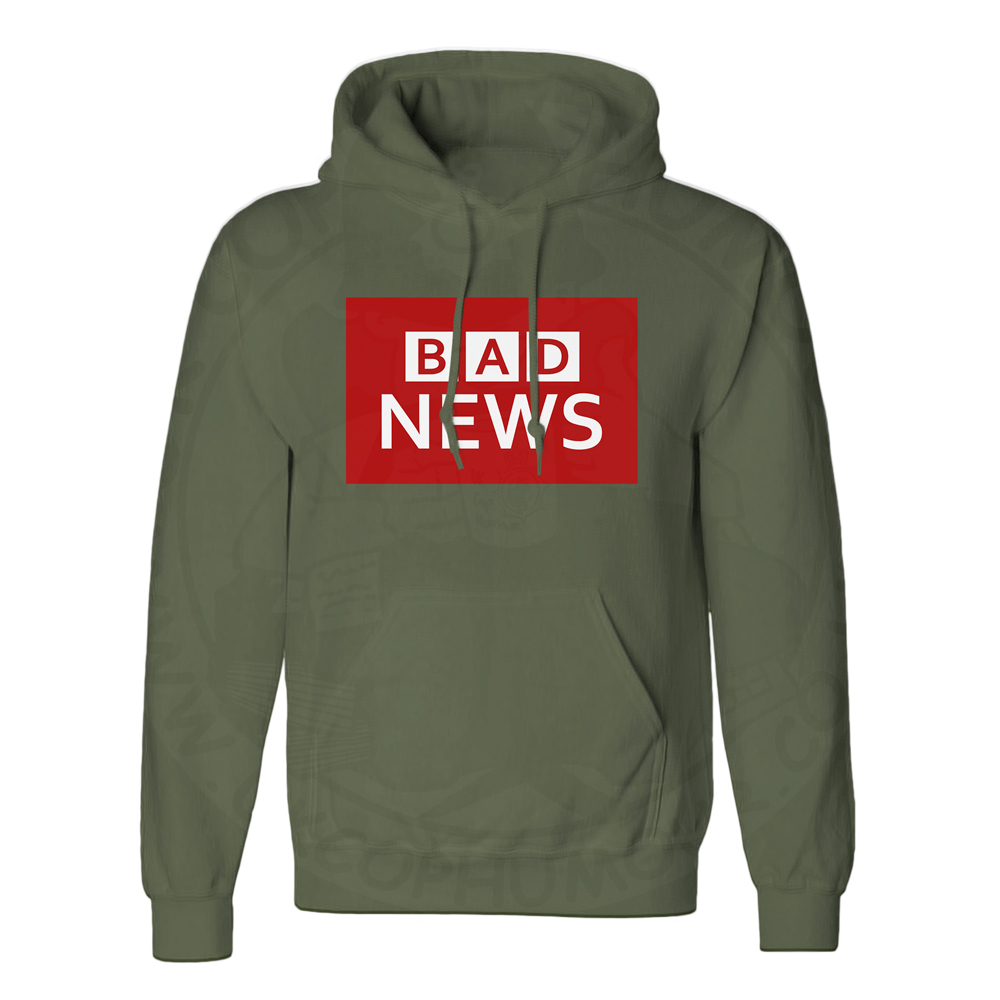 Unisex BAD NEWS Hoodie - Olive Green, 2XL