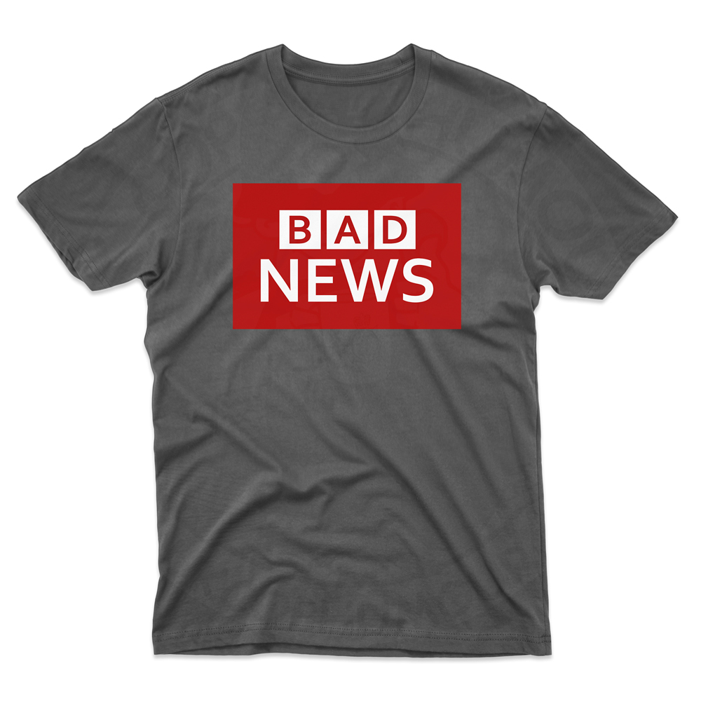 Mens BAD NEWS T-Shirt - Black, 5XL