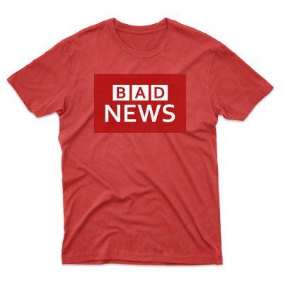 Mens BAD NEWS T-Shirt - Cherry Red, 2XL