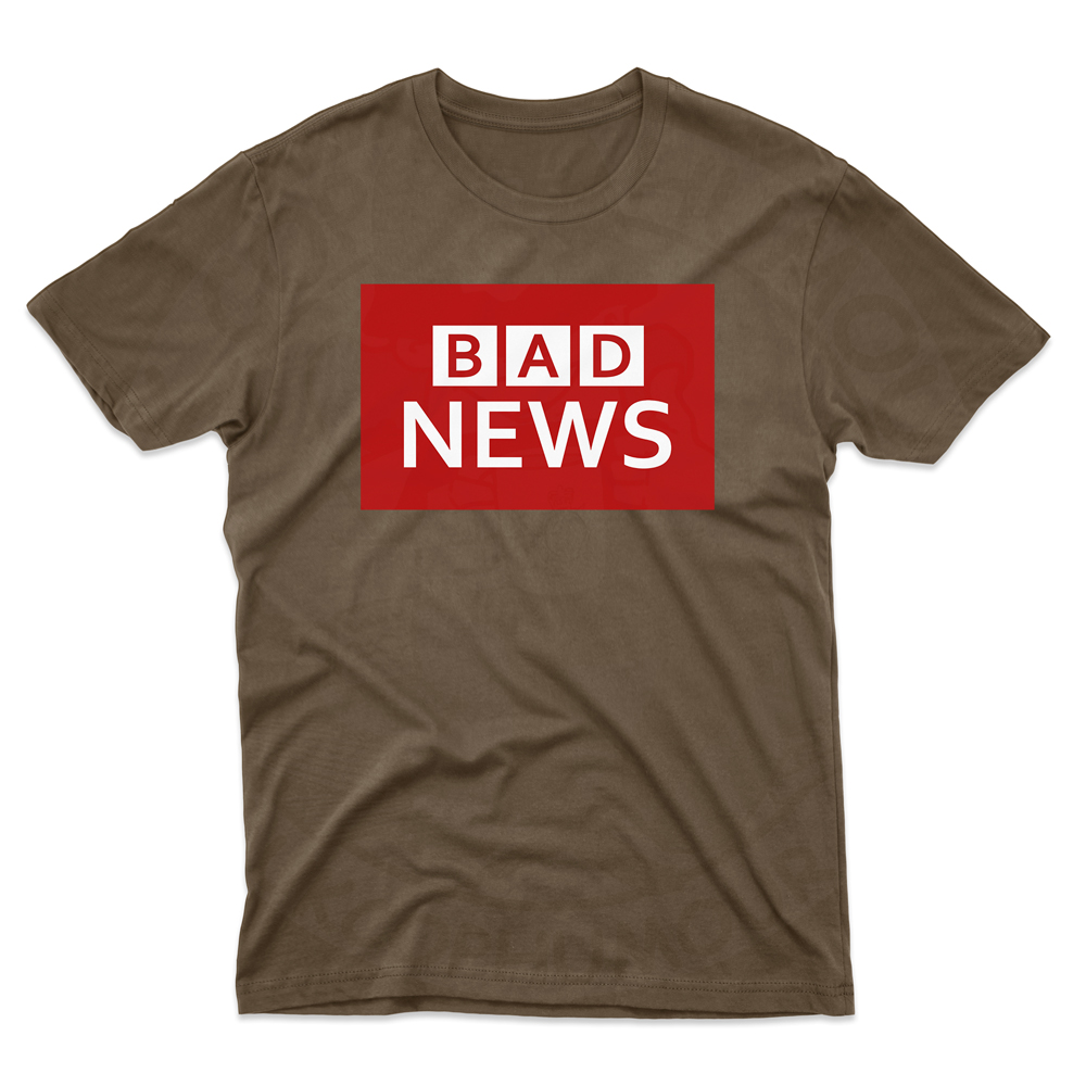 Mens BAD NEWS T-Shirt - Dark Chocolate, 2XL