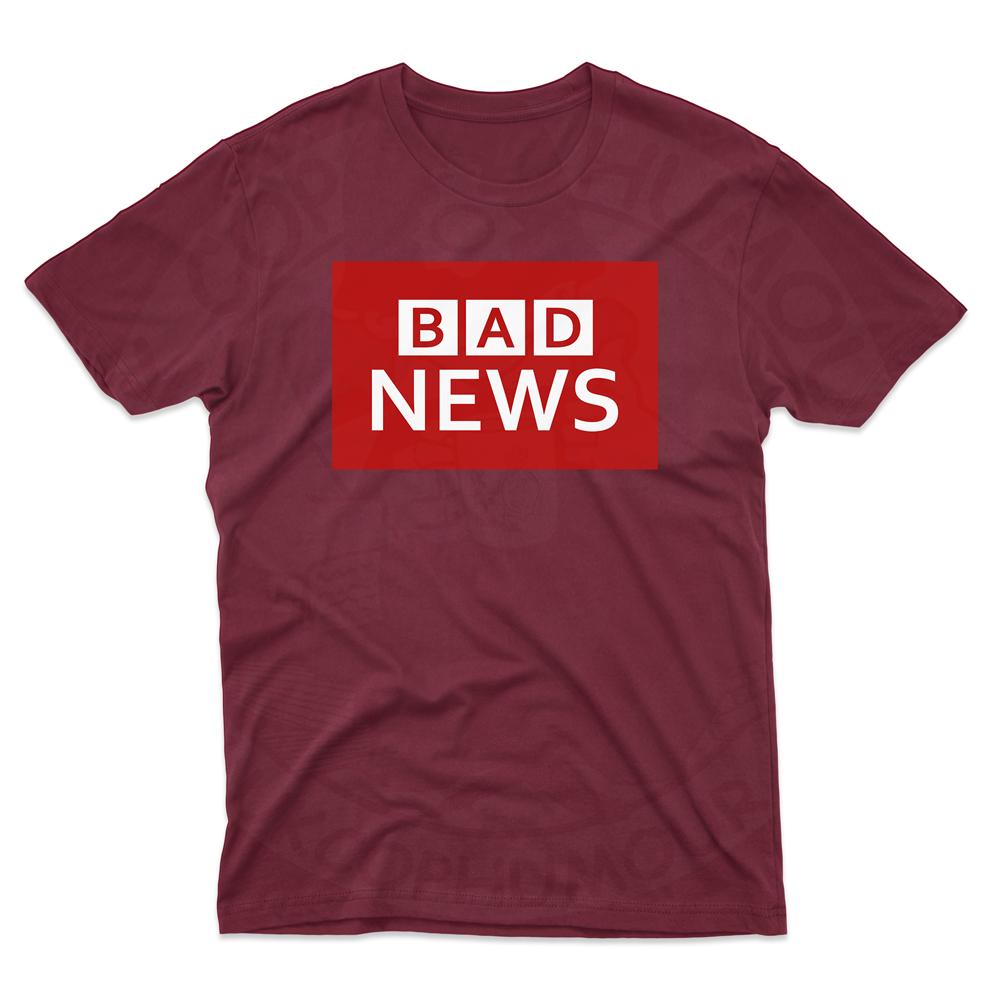 Mens BAD NEWS T-Shirt - Maroon, 2XL