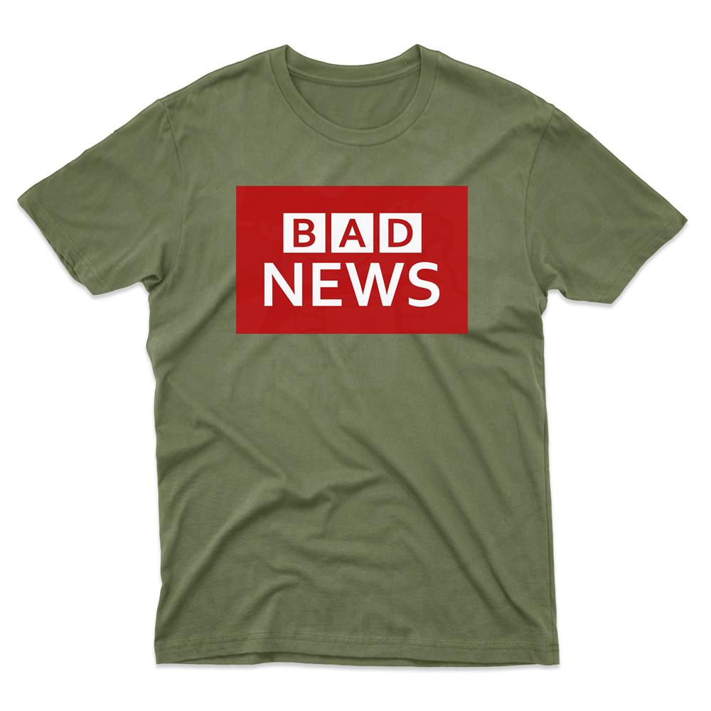 Mens BAD NEWS T-Shirt - Military Green, 2XL