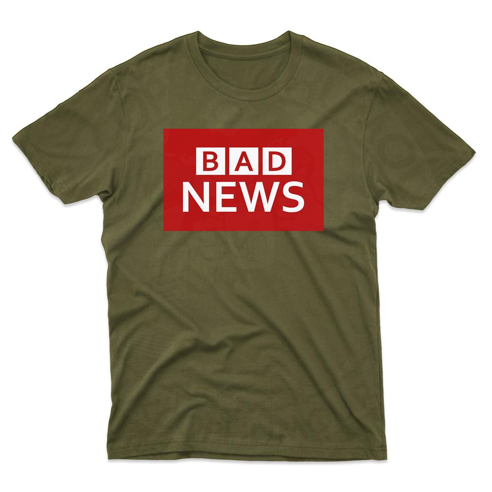 Mens BAD NEWS T-Shirt - Olive Green, 2XL