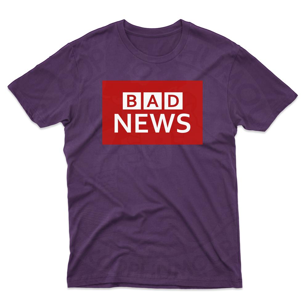 Mens BAD NEWS T-Shirt - Purple, 2XL