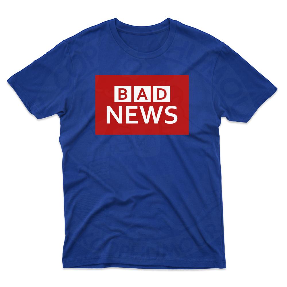 Mens BAD NEWS T-Shirt - Royal Blue, 5XL