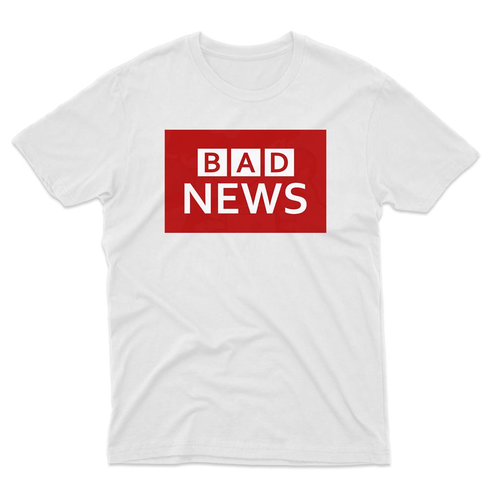 Mens BAD NEWS T-Shirt - White, 5XL