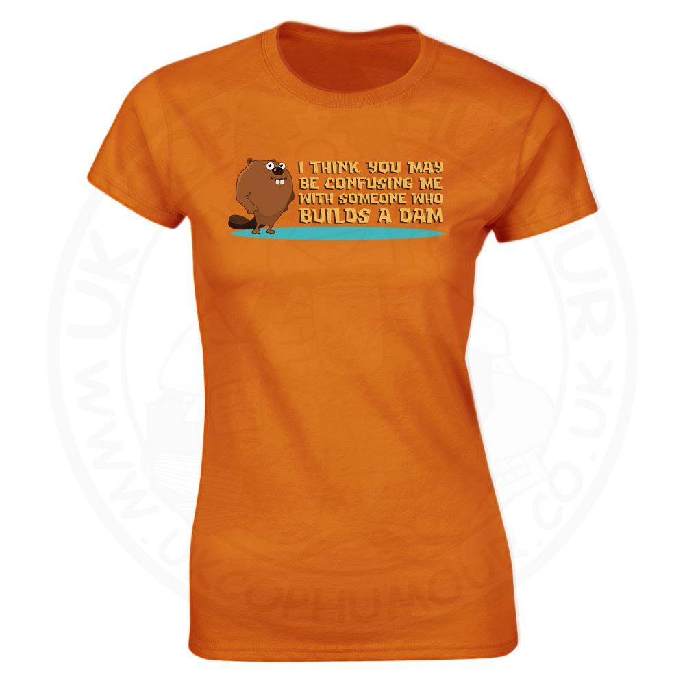 Ladies Builds A Dam T-Shirt - Orange, 18