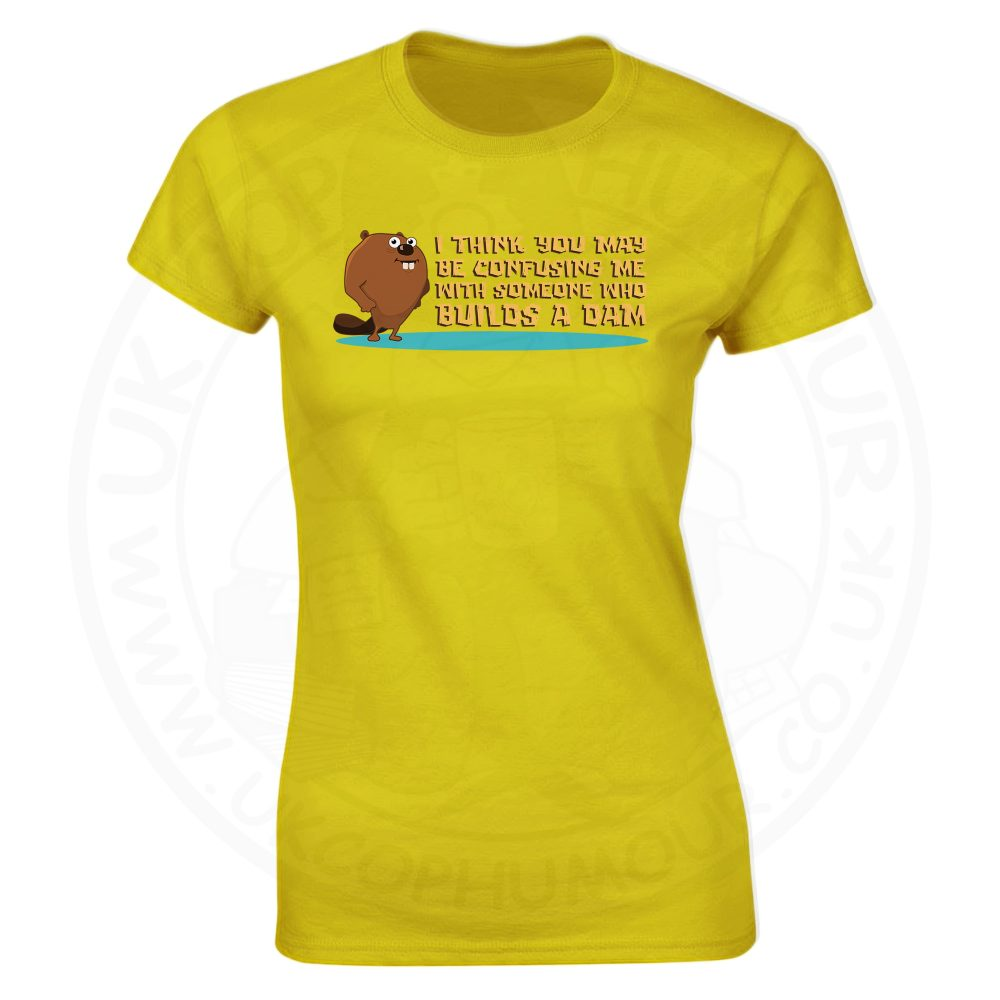 Ladies Builds A Dam T-Shirt - Yellow, 18