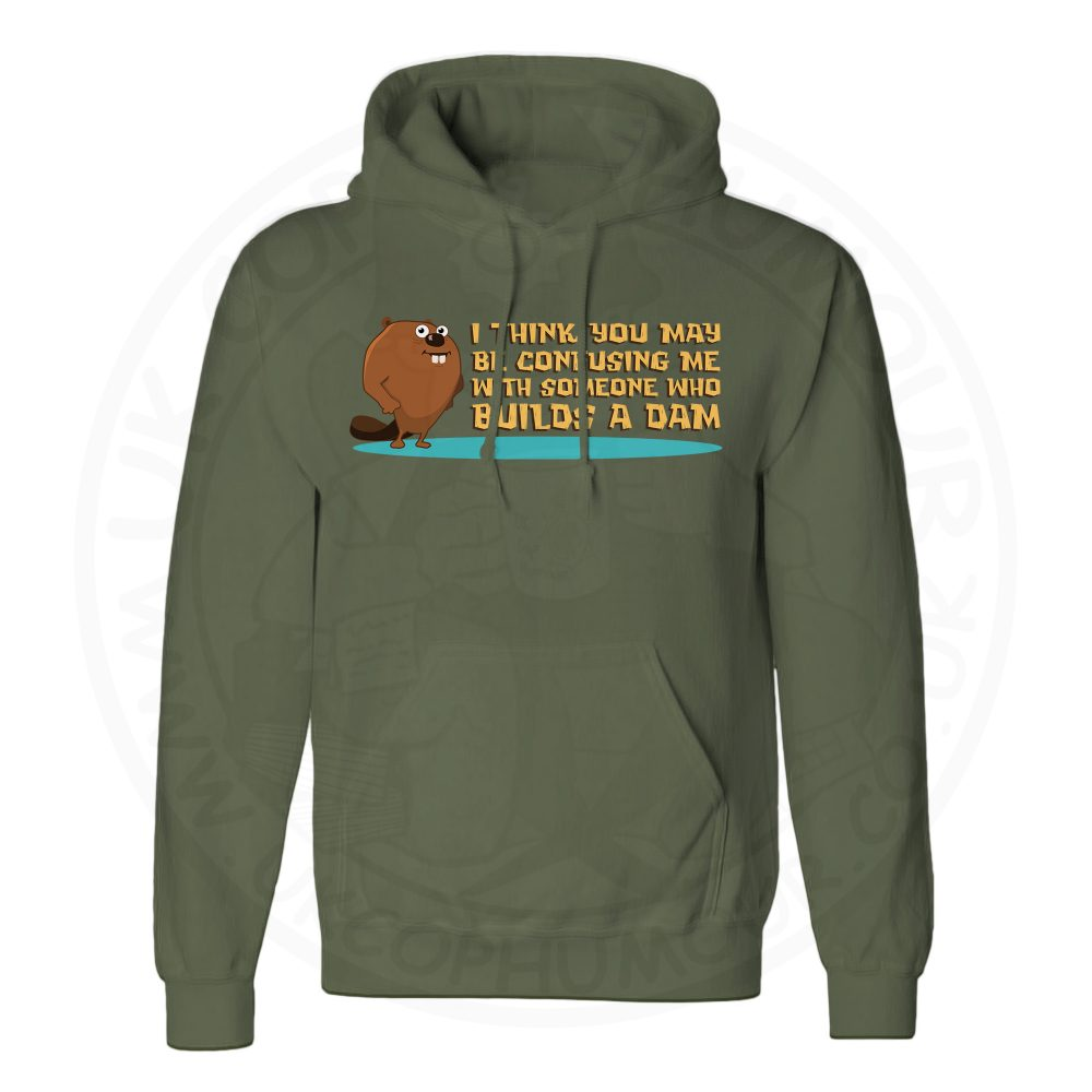 Unisex Builds A Dam Hoodie - Olive Green, 2XL