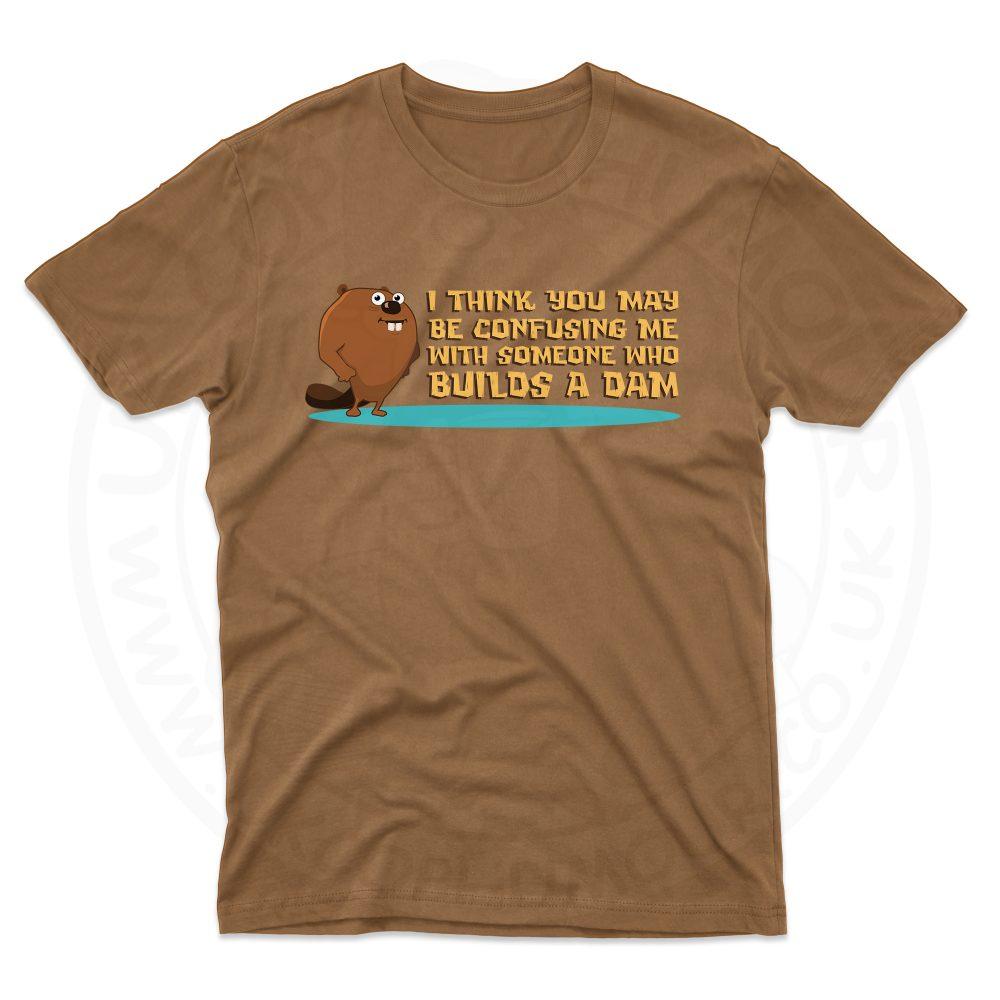 Mens Builds A Dam T-Shirt - Chestnut, 2XL