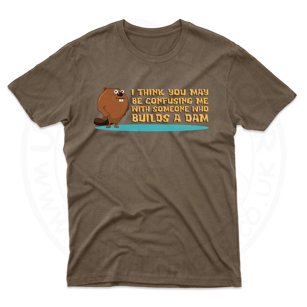 Mens Builds A Dam T-Shirt - Dark Chocolate, 2XL