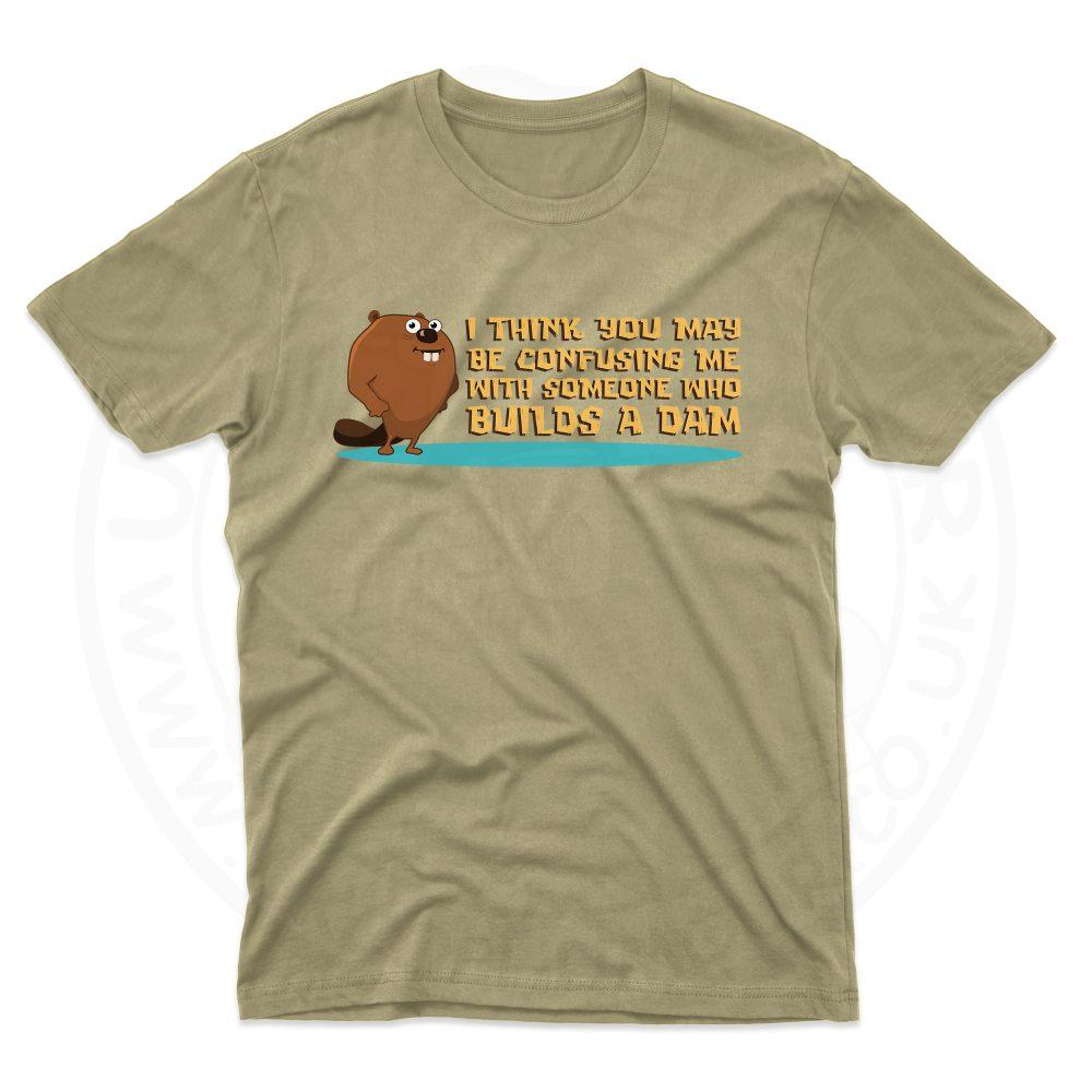 Mens Builds A Dam T-Shirt - Desert, 2XL