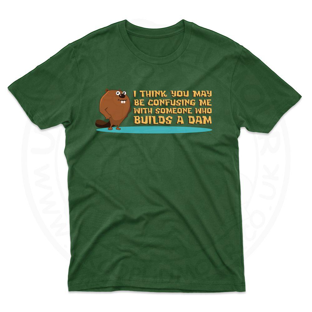 Mens Builds A Dam T-Shirt - Forest Green, 2XL