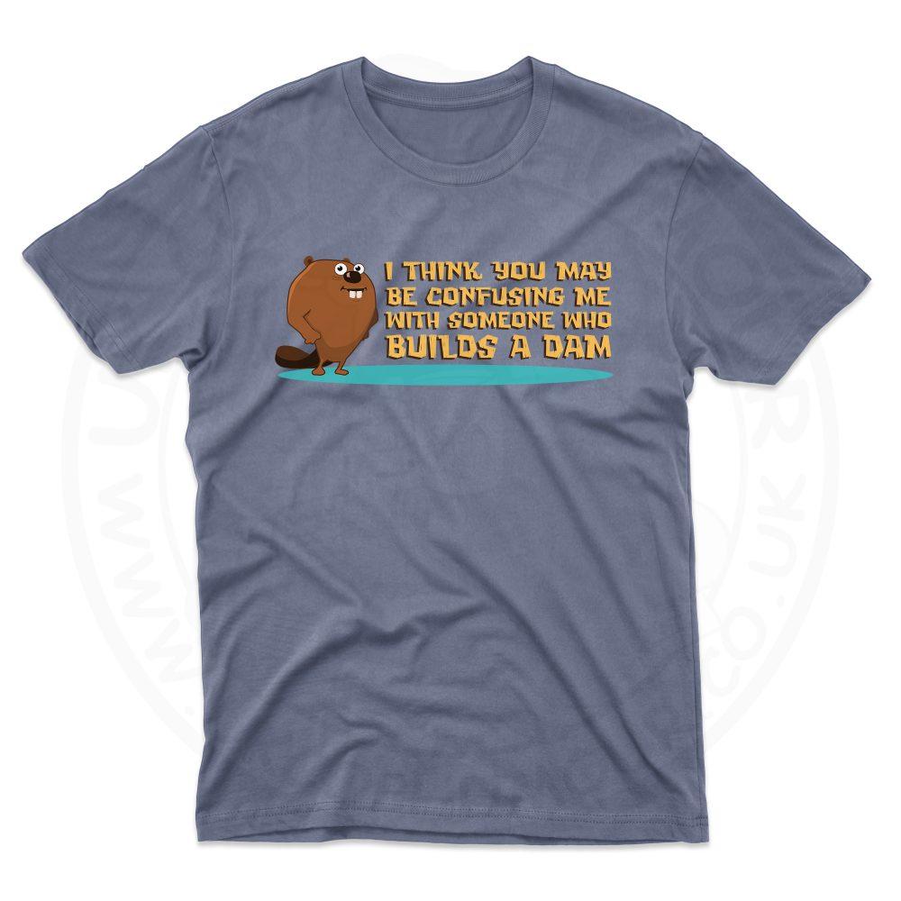 Mens Builds A Dam T-Shirt - Indigo Blue, 2XL