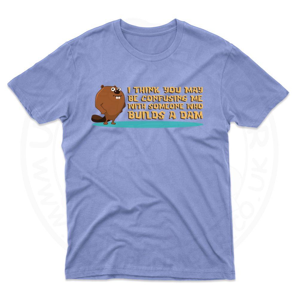 Mens Builds A Dam T-Shirt - Light Blue, 2XL