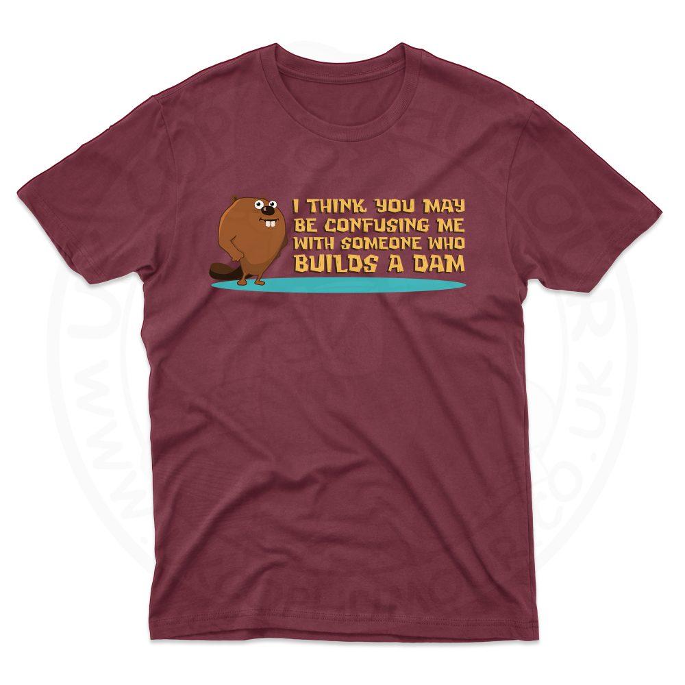 Mens Builds A Dam T-Shirt - Maroon, 2XL